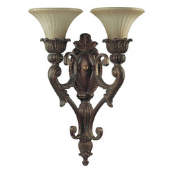 Quorum Lighting - Quorum Lighting Madeleine Traditional Wall Sconce X-88-2-0355 - Decorate with a piece unlike any other, such as with this Quorum Lighting Madeleine Traditional Wall Sconce. It features a magnificent frame in a brilliant, Cosican gold finish that supports two antique amber scavo glass shades. It's surely an attractive piece that's perfectly suited for a home with simple beauty and understated elegance.