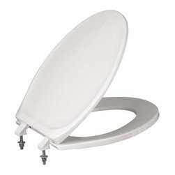 BENEKE - 420 HPSS Toilet Seat, White - Regular heavy duty white closed-front plastic toilet seat. Cover design features a front recess for easy, sanitary cover lifting. Exclusive semi-concealed matching hi-rise hinges have integrally molded, stainless steel posts fitted with stainless steel hardware. Seat is molded of high-strength, impact- and chemical-resistant polypropylene. The Perma-Bumper feature provides integrally molded bumpers that are permanent, sanitary and easy to clean. Seat meets or exceeds existing commercial and housing standards.