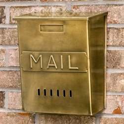 Vertical 'Mail' Wall-Mount Brass Mailbox, Antique Brass - How about a lovely aged brass mailbox on your front porch? The brass finish will only get better with age, as it naturally patinas in the elements.