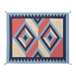 Navajo Design Area Rug, 5' X 7' Hand Woven 100% Wool Reversible Blue Rug SH11489 - Soumaks & Kilims are prominent Flat Woven Rugs.  Flat Woven Rugs are made by weaving wool onto a foundation of cotton warps on the loom.  The unique trait about these thin rugs is that they're reversible.  Pillows and Blankets can be made from Soumas & Kilims.