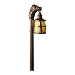 """Kichler 1-Light Landscape Fixture - Olde Bronze - One light landscape fixture. A unique twist gives. This lighting path light a one-of-a-kind look. From the Kentucky collection, it features a horses head and a lantern which hangs from the mouth. Finished in an olde bronze and expertly paired with a light linen glass shade. This fixture captures the hunt club style. Comes with 8"""" in-ground stake mounting accessory. Wiring is 41"""" of usable #18-2, spt-1-w leads. cable connector supplied with fixture."""