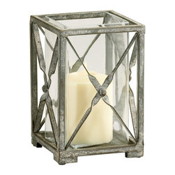 Kathy Kuo Home - Small Antique Moss Gray Wash Wrought Iron Square Candle Hurricane - A candleholder for the manor born, this piece looks like it has spent most of its life illuminating the pathways of a Normandy Chateau.  Traditional metal details and spare lines set the stage for the beauty of ambient candle light.