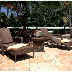 Hospitality Rattan Grenada Patio 3 Piece Chaise Lounge Set with End Table - Time out of the backyard pool can be just as rejuvenating as time in it when you've got the Hospitality Rattan Grenada Patio 3 Piece Chaise Lounge Set with End Table poolside. The Grenada Collection has a modern, tropical feel that offers a clean look for any patio area - not to mention the convenience of all-weather wicker. Each piece of this set - two full-length chaise lounges and an end table - is supported by an aluminum frame wrapped in high quality antique brown Viro fiber. The seating components boasts high adjustable backs, softly curved arms, decorative open weaving along the sides, and slim feet. Stack them in the off season for space-saving storage, and, when they're out in the full sun, slip the tempered-glass-topped end table between. It's the perfect place to perch a couple of glasses of lemonade.DimensionsChaise lounges: 84L x 36W x 21H inchesEnd table: 23L x 23W x 19H inchesAbout Hospitality Rattan Hospitality Rattan has been a leading manufacturer and distributor of contract quality rattan, wicker, and bamboo furnishings since 2000. The company's product lines have become dominant in the Casual Rattan, Wicker, and Outdoor Markets because of their quality construction, variety, and attractive design. Designed for buyers who appreciate upscale furniture with a tropical feel, Hospitality Rattan offers a range of indoor and outdoor collections featuring all-aluminum frames woven with Viro or Rehau synthetic wicker fiber that will not fade or crack when subjected to the elements. Hospitality Rattan furniture is manufactured to hospitality specifications and quality standards, which exceed the standards for residential use. Hospitality Rattan's Environmental Commitment Hospitality Rattan is continually looking for ways to limit their impact on the environment and is always trying to use the most environmentally friendly manufacturing techniques and materials possible. The company