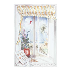 Renovators Supply - Prints White Wood Print w/Hangers 33 1/4'' H x 23'' W - Window Scene Print. This window scene measures 33 1/4 in. high x 23 in. wide. Comes with 2 hangers for easy installation.