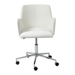 Eurostyle - Sunny Office Chair-Wht/Chrm - Why should working at home be dreary? Design your office to reflect your personality and taste. This office chair has style without being flashy. It says that you mean business, but appreciate a nontraditional approach when necessary.