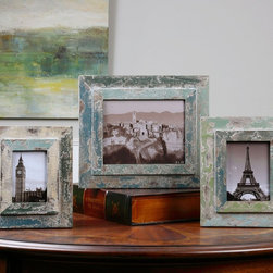 "Uttermost - Acheron Photo Frames - Set of 3 - Frames Are Finished In Heavily Distressed Shades Of Blue And Green With An Antiqued Ivory Wash. Sizes: Sm-9x11x1, Med-10x12x1, Lg-13x15x1 Holds Photo Sizes 4x6, 5x7 & 8x10. Uttermost's Photo Frames Combine Premium Quality Materials With Unique High-style Design. Overall Dimensions: 1.5""D x 13""W x 15""H; Mirror/Glass Width: 8""; Mirror/Glass Height: 10"""