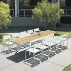 Outdoor Dining Furniture - The Baia Collection from Mamagreen™ features dining chairs with mesh fabric upholstery and an extension dining table with a recycled teak wood table top.