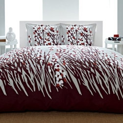 City Scene Spring Arbor Reversible Duvet Bedding Set - The City Scene Pressed Flower Reversible Duvet Bedding Set is a simple way to completely revolutionize your current bedroom design scheme. This charming set includes a duvet and two matching pillow shams (one sham for the twin size set). Both the duvet and shams are made from soft white 100% cotton and feature an Asian-inspired cherry blossom design in burgundy pink and white. 100% polyester serves as the fill material. Each piece is machine-washable for easy cleaning. Quilt Dimensions: Twin: 68L x 86W inches Full/Queen: 88L x 88W inches King: 104L x 88W inches About City SceneCity Scene bedding will add sophisticated style to your bedroom. Unique patterns vivid colors quality materials and attention to detail help City Scene's bedding products give your room a designer flair. And their careful craftsmanship means their bedding will keep your room beautiful for years.