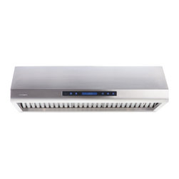 "Cavaliere - Cavaliere-Euro AP238-PS63-42 42; Under Cabinet Range Hood - Mount Type: Under Cabinet. Venting: Top, 8"" Round. Airflow at Max: 900 CFM. Lighting: Two 35W GU10 Halogen Lights. Noise Level: 1.5Sone(46dB) / 3.5Sone(58dB) / 5.3Sone(64dB) / 7.5Sone(69dB). Voltage: 120V / 60Hz (USA & Canada standard). Motor: 260W (130W + 130W) Dual Motors. Speeds: 4 Speeds. Keypad Type: Touch sensitive electronic LCD control panel with heat sensor and remote control. Filters: Dishwasher Safer Stainless Steel Baffle Filter. Material: Full seamless stainless steel construction. Features: Credit Card Sized Remote Control, Unique Heat Sensitive Auto Speed function. Warranty: 1 year parts from the Manufacturer"