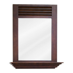 "Hardware Resources - Elements Bathroom Mirror - Nutmeg Lindley Mirror by Bath Elements. 25-1/2"" x 30"" nutmeg mirror with 4"" shelf and beveled glass. Corresponds with VAN078"