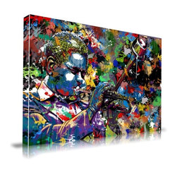 "Apt2B - Jazz' Print by Maxwell Dickson, 16"" x 20"" - Artfully improvised splashes of free-form color help express the lively, soulful, controlled chaos that is jazz. You can almost hear the exuberant squeal of that trumpet. Printed on a large, frameless canvas in vivid, archival quality ink, this print is sure to jazz up your room."