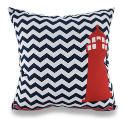 Manual - Indoor/Outdoor Red Lighthouse Navy/White Chevron Striped Throw Pillow - Now you can accent your home inside or out in nautical style with this vivid navy blue and white chevron striped throw pillow that's perfect for your living room sofa, the Adirondack chair on the patio or the chaise lounge in your garden oasis. The 100% polyester cover is water repellent and it's filled with 100% polyester fiber. Measuring 18 inches high by 18 inches long (46 cm by 46 cm), it would look amazing by a pool area, in your seaside cottage or just tossed on the bed, and features a big red lighthouse accent on both sides. It is recommended to dry clean or spot clean only. This bright and cheerful throw pillow would make an excellent housewarming gift for any nautical style fans