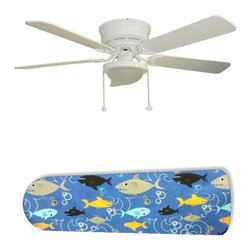 "Fish Frenzy Swimming Shark 52"" Ceiling Fan with Lamp - This is a brand new 52-inch 5-blade ceiling fan with a dome light kit and designer blades and will be shipped in original box. It is white with a flushmount design and is adjustable for downrods if needed. This fan features 3-speed reversible airflow for energy efficiency all year long. Comes with Light kit and complete installation/assembly instructions. The blades are easy to clean using a damp-not wet cloth. The design is on one side only/opposite side is bleached oak. Made using environmentally friendly, non-toxic products. This is not a licensed product, but is made with fully licensed products. Note: Fan comes with custom blades only."