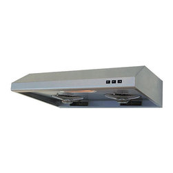 None - Brushed Stainless Steel 36-inch Under-cabinet Range Hood - The 36-inch durable under-cabinet range hood has a modern appearance,seamless design,and professional performance. The 3-speed push-button controls make using this hood easy and sleek,while the 780 CFM motors make this range hood powerful.