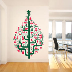 Christmas Tree with Ornaments Wall Decal by Easy Decals - This is the perfect Christmas tree for small spaces and city living! There's no mess, and it's easy to clean up and reuse year after year.