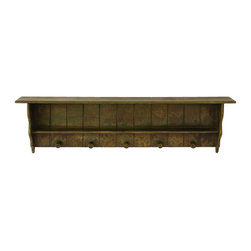 None - Free Hanging Wood Shelf With Hanging Hooks - Add function and style to your home or office with this vintage-style hanging shelf. Designed with five handing hooks and two levels for extra storage,this marvelous shelf is ideal for any room.