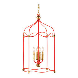 Kathy Kuo Home - Carousel Red and Gold Birdcage 4 Light Pendant Lantern - From the formal gold leaf finials and candlesticks, to the airy space of the cherry red birdcage shaped frame, this piece has a sophisticated approach which delivers glamorous contemporary lighting in a traditional style.