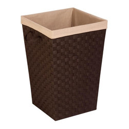 Honey Can Do - Woven Strap Hamper With Liner - Woven polypropylene strapping with an epoxy coated metal frame. Strap handle(not cut-out handle) on the lid. Liner is linen and machine washable. 17 in. L x 17 in. W x 26 in. H