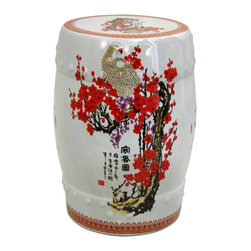 Oriental Unlimited - 18 in. High Cherry Blossom Lacquered Porcelai - Attractive and practical. Use as a stool or as a drink table. Solid, high temperature, durable fine Chinese porcelain. 13 in. Dia. x 18 in. H (20 lbs.). Seat: 11 in. Dia.