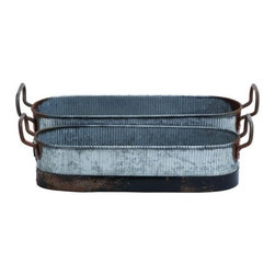 """Benzara - Galvn Metal Planter in Brown and Grey with Rust Design - Set of 2 - Galvn Metal Planter in Brown And Grey with Rust Design - Set of 2. Featuring a very vintage appearance, this Set of two Galvn metal planters will add a rustic and ethnic hint to your home decor. It is available in 2 size variants - 4"""" H x 16"""" W x 6"""" D, 5"""" H x 17"""" W x 7"""" D."""