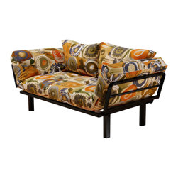 Kodiak Furniture - Spacely Futon Lounger in Enchanted - Bring a friendly mood of sunny countries into your space with this bright and fun futon. The Spacely Futon Lounger comes with metal frame in black finish with five position adjustable side arms and mattress in Enchanted finish cover. High density foam provides the highest level of comfort. The futon is made of only quality materials to serve you for years to come.