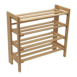 Winsome Wood - Four-Level Stackable Shoe Rack with Beech Woo - * Natural finish. Beechwood. Holds at least a dozen pairs of shoes. Can be stacked on top of another unit to create a wall of shoes. Assembly required. 27.8 in. L x 11.5 in. W x 25.9 in. H. 15 lbs
