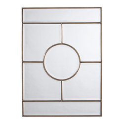 """Arteriors - Arteriors Home - Bronsan Mirror - 2198 - No doubt this was geometric inspired squares, rectangles and a circle all outlined in vintage brass. The mirror is plain with bevels. Features: Bronsan Collection MirrorVintage BrassBeveled Mirror Some Assembly Required. Dimensions: H: 44"""" W: 32"""" D: 1"""""""