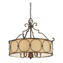 """Minka Lavery - Minka Lavery 4236-288 Deep Flax Bronze Atterbury Traditional / Classic - Minka Lavery 4236 Traditional / Classic Five Light Chandelier from the Atterbury Collection  Five Light Chandelier Deep Flax Bronze Finish Fabric Shade 5-60W Candelabra Base Bulb (Not Included) Dimensions: 22""""H x 25.25""""W x 25.25""""D"""