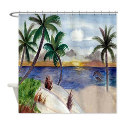 usa - Tropical Paradise Shower Curtain - Beautiful shower curtains created from my original art work. Each curtain is made of a thick water resistant polyester fabric. The permanently applied art work appears on the front side with the inside being white. 12 button holes for easy hanging, machine washable and most importantly made in the USA. Shower rod and rings not included. Size is a standard 70''x70''