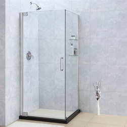 "Bath Authority DreamLine - Bath Authority DreamLine Elegance Frameless Pivot Shower Enclosure (34"" by 32"") - The Elegance shower enclosure combines clean minimal styling with exceptional quality. Opulent 3/8"" thick tempered glass and a fluid frameless design create a prefect mix of strength and beauty. The corner installation maximizes space and becomes the heart of a bathroom design, while minimal hardware generates an open and airy appeal. Features  3/8 (10 mm) thick clear tempered glass Chrome or brushed nickel finish hardware Glass Shelves or Support Arm Frameless glass design Out-of-plumb installation adjustability: Up to 1"" per side Frameless glass pivot shower enclosure design Elegant solid brass pivot mechanism and anodized aluminum wall profiles Door opening: 26"" Return panel: 34"" Reversible for ""right"" or ""left"" door opening installation Material: Tempered Glass, Aluminum, Brass Optional SlimLine shower base available  Tempered glass ANSI certified To minimize possible leakage, install shower head opposite of the shower opening pointed toward tiled walls, fixed panels or directly down the floor.  Limited 5 (five) year manufacturer warranty Information regarding the return policy of your DreamLine product is available here. If you have any questions, please contact us before ordering. View Spec Sheet for Enclosure with Support Arm View Spec Sheet for Enclosure with Glass Shelves"