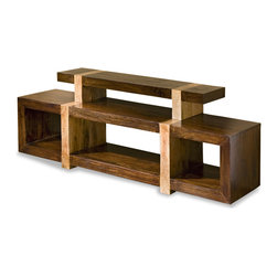 Kathy Kuo Home - Berkeley Solid Chunky Rustic Wood Media Shelf - Mod meets modular in this beautiful media shelf, which can be used with or without the top shelf.  Contrast walnut and natural finishes reinforce the bold sculptural quality, while generous proportions ensure a enough room for whatever entertains you.