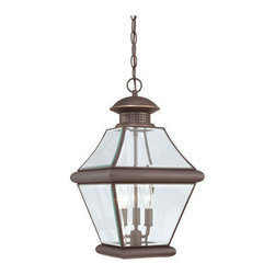 Quoizel Lighting - Quoizel RJ1911Z Rutledge 3 Light Outdoor Pendant/Chandelier, Medici Bronze - Long Description: This outdoor lantern expresses simplicity of design. Clear beveled glass gives an unobstructed path of light to brighten your outdoor landscape. The three finishes available in this collection are mystic black, pewter and medici bronze. With these timeless finishes to choose from, your outdoor lighting will tie in flawlessly to your home.