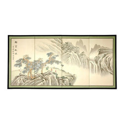 "Oriental Furniture - Mountain of Knowledge - 36"" - This Mountain of Knowledge rendition is very finely detailed, with mountains in shades of black and gray, and oriental pines in brown and green. Subtle, beautiful hand painted wall art."