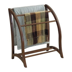 Deluxe Comfort - Quilt Rack - Keep spare linens within reach.Rack holds 3 quilts or bath towels. Beautiful walnut finish easily coordinates with existing decor.