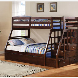 Espresso Wood Kids Twin Full Stairway Bunk Beds Storage Trundle Stairs -