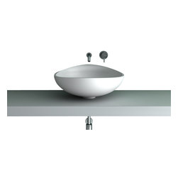 Maestrobath - Teknoform Elmo Designer Bathroom Sink - This top rated vessel sink is shaped uniquely into a water drop and slightly declining towards the front. The masterfully designed contemporary bathroom sink offers a clean and modern addition to your bathroom or anywhere else in need of a stylish wash basin. Created out of TeknoForm, a polymer-based material, this beautiful vessel sink is durable and contemporary.