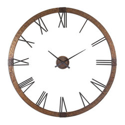 "Uttermost - Uttermost 06655  Amarion 60"" Copper Wall Clock - This oversized clock features hammered copper sheeting with a light gray wash and aged black details. center hands movement is separate from the outside frame. uses one aa battery. some assembly required."
