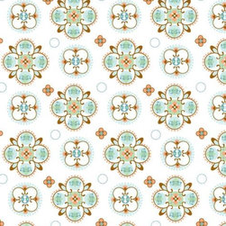 Modern Vintage Blue Small Moroccan Fabric - Mix and match custom-chosen fabrics to create the exact nursery you want. This modern vintage print hints at the exotic with its teal and tan detailing. Perfect for pairing with a smaller print.