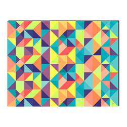 Ready2HangArt - 'Geometric Study XXII' Canvas Wall Art by Alexis Bueno - This oversized geometric canvas art is part of Alexis Bueno' series 'Geo', his use of color and shapes, make every canvas unique. It is fully finished, arriving ready to hang on the wall of your choice.