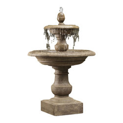 Campania - Caterina Outdoor Water Fountain - With the detailed work that was put into this Caterina Fountain, it will be sure to impress anyone. The smooth edges of the tier allow for water to fall naturally over the edge giving you a stunning visual show as well as a more natural rain pattern sound. The fluted pedestal and the smooth finial of the Caterina Fountain create an elegant focal point.