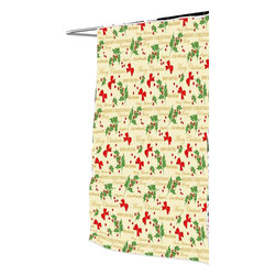 """Merry Christmas"" Fabric Shower Curtain - ""Merry Christmas"" Fabric shower curtain, 100% polyester, size 70""x72"". Never miss an opportunity for holiday festivity with our ""Merry Christmas"" Shower Curtain. Made to fit standard-sized bathtubs or showers (curtain measuring 70'' wide x 72'' long), ""Merry Christmas"" is made with a 100% polyester, machine-washable fabric that is designed to last in your home for seasons to come.   Machine wash in warm water, tumble dry, low, light iron as needed"