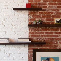 MASHstudios   Limited Release: LAXseries Dark Floating Shelves - It's not magic but it's pretty close. Suspend your odds & ends in mid-air with these floating shelves. The shelves are worry-free and engineered to be fully stable. Using steel for the mounting bracket and solid wood for the design, we give you the confidence to display even your most precious treasures.