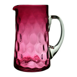 None visible - Consigned Cranberry Red Tapered Glass Jug - Classical water jug in blown cranberry honeycomb glass with clear handle; antique English Victorian, 19th century.