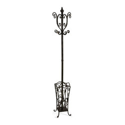 IMAX CORPORATION - Metal Coat Rack with Umbrella Stand - With British sensibility, this metal coat rack and umbrella stand is tasteful and functional. Find home furnishings, decor, and accessories from Posh Urban Furnishings. Beautiful, stylish furniture and decor that will brighten your home instantly. Shop modern, traditional, vintage, and world designs.