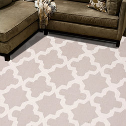 Maroc Classic Gray Flat Weave Rug - 2' x 3' - A more dramatic take on the classic, versatile lattice pattern, the Maroc Classic Gray Rug adds more jubilant geometry to the tessellated look with striking stars and complex forms presented by the neutral negative space. This makes the light neutral rug a wonderful choice for transitional bedrooms, where a more soothing aesthetic is wanted, or for contrasting with brighter tones.