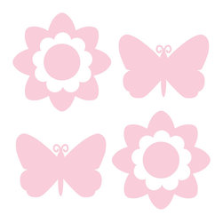 """WallPops - Gigi Pink Butterfly And Flower Silhouettes Wall Decal - Butterflies and flower wall decals in this soft sweet pink hue make the perfect accent to your little girls room. These precious pink WallPops can be used alone on the wall, or arranged with dots and blox for extra stylish wall art impact, beautiful in a nursery.Butterfly and Flower Silhouettes come with four 13"""" x 13"""" sheets (two with butterflies and two with flowers)."""