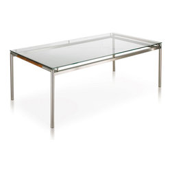 Harbour Outdoor - Breeze Dining Table - The perfect combination of modern luxury, eminent style, and  refined class is epitomized in the Breeze Dining Table by Harbour Outdoor. The sleek, smooth, stainless steel frames tubed legs and modern lines give an air of sophistication perfectly accentuated by the refined luxury and grace of the teakwood inlays. The glass table-top sits above the frame opposed to set in it, giving an elegantly modern, sleek, and stylish look. For outdoor parties and gatherings that rival indoor fashion magazine galas, the modern Breeze Dining Table is the perfect choice.