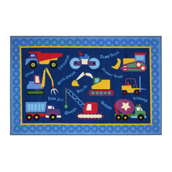 """Fun Rugs - Under Construction Olive Kids Collection Rug - 39"""" x 58"""" - This colorful rug has under construction design Collection Name: Olive Kids; 100% Nylon Dimensions: 39"""" x 58"""""""