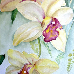 Lemon Orchids, Original Watercolor - There is so much to love about watercolor.  All of the shades and no color at all, with endless possibilities, even with only one image, we could explore it in infinite ways.