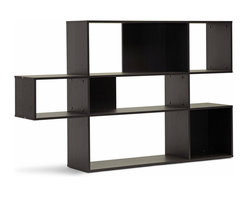 """Baxton Studio - Baxton Studio Lanahan Dark Brown 3-Level Modern Display Shelf - This unique design is just the thing for displaying treasured ceramics, photos, books, and memorabilia with style. The Lanahan Designer Shelving Unit is a 3-level modern bookshelf made of dark brown faux wood grain paper veneer over a frame of engineered wood. Not just a great shelving unit, the Lanahan Shelf is an excellent room divider. This Malaysian-made modern display unit requires assembly and should be cleaned with a dry cloth. The Lanahan Bookshelf is also available with 5 levels (sold separately). Product dimension: 60.81""""W x 11.81""""D x 38.75""""H , shelf dimension from top to bottom: top: 44""""W x 13.37""""H, middle: 44""""W x 9.25""""H, bottom: 44""""W x 13.37""""H"""